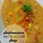 Easy Meals Southwestern Sweet Potato and Corn Soup. An easy, vegetarian soup recipe, loaded with yummy veggies! Perfect for a Meatless Monday meal!