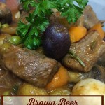 Brown Beer Crockpot Beef Stew - With a little prep work, this delicious beef stew recipe finishes beautifully in the crockpot. Full of flavor, full of veggies and super tender, this is a family favorite!